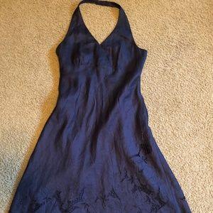 Ann Taylor Black Linen Embroidered Halter dress
